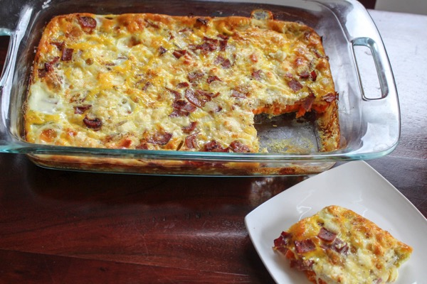 Healthy Egg Casserole With Sweet Potatos Turkey Bacon And Goat Cheese