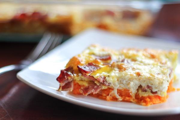 turkey bacon goat cheese egg casserole