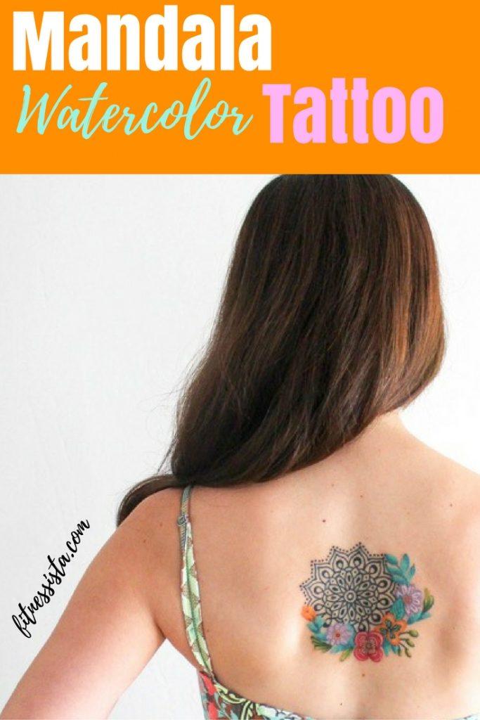 Mandala Watercolor Flowers Tattoo