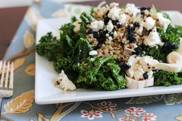Kale salad with goat cheese, dried berries and quinoa