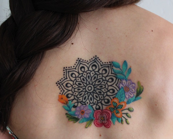 My first tattoo mandala with watercolor flowers