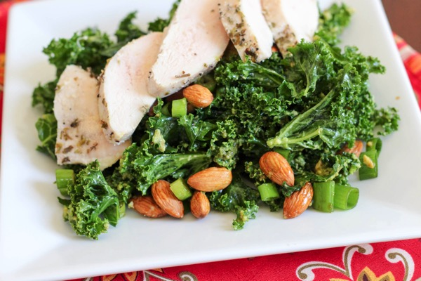 Massaged kale with almonds and chicken