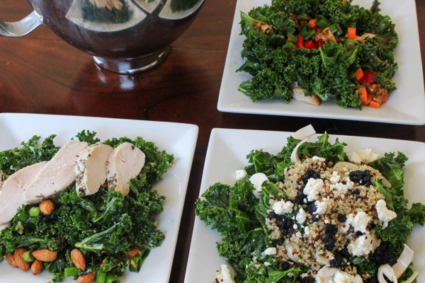 One base, 3 salads