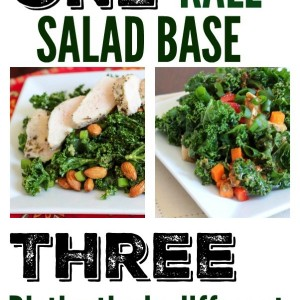 One kale salad base, three totally different salads. Perfect for weekly meal prep! Switch up that salad rut. www.fitnessista.com