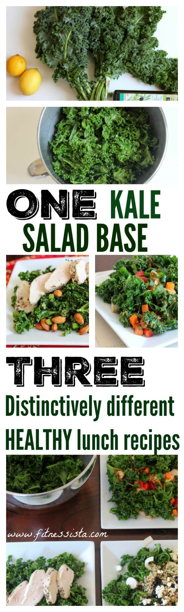 One kale salad base three different salads