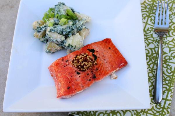 Salmon with green potato salad