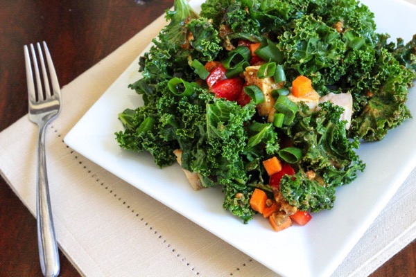 kale salad with spicy almond butter sauce