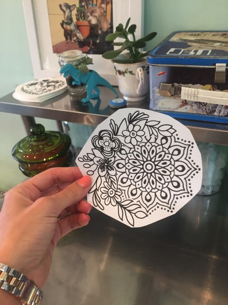 Stencil of Mandala Tattoo with watercolor flowers