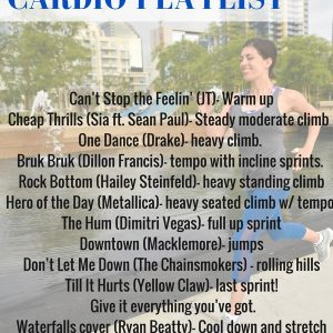 June 2016 cardio playlist! Perfect for your next sweaty cardio workout and includes a mix of sprints, tempo work, and hills. Pin this for the next time you need gym inspiration! fitnessista.com