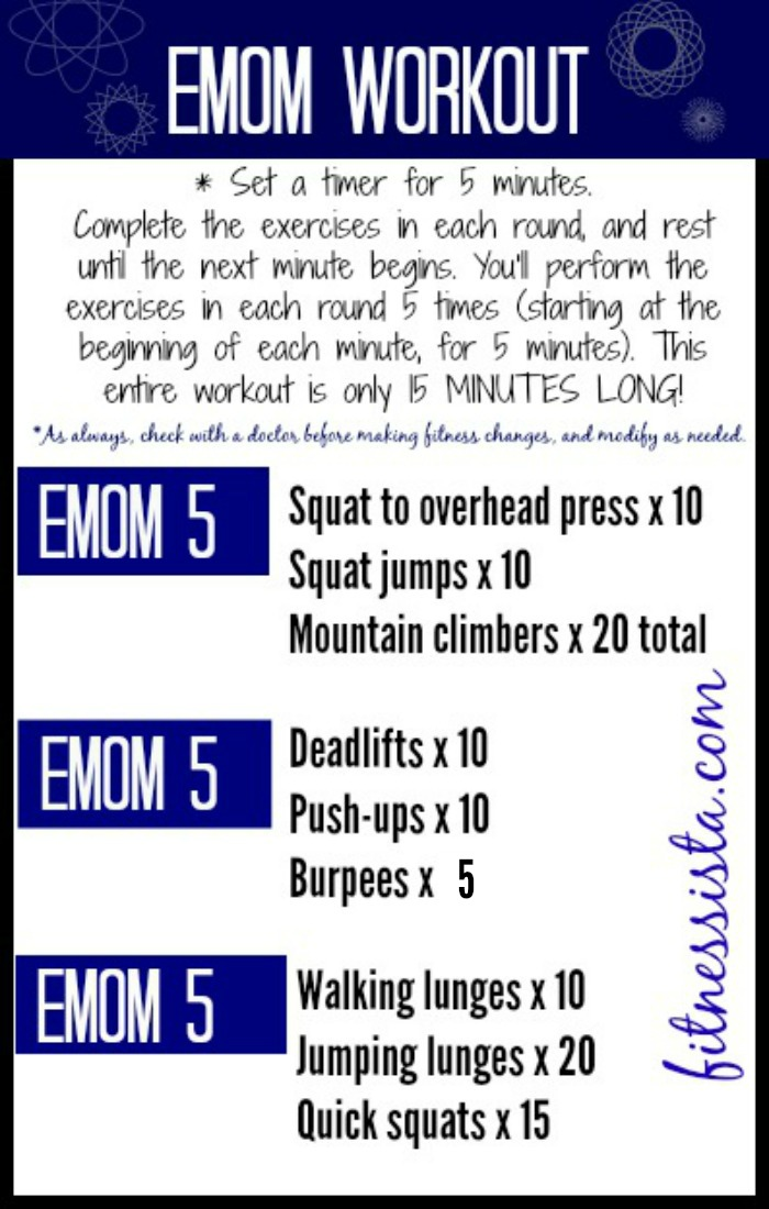 Get in a killer total body workout in only 15 minutes with EMOM. Check out fitnessista.com for all of the details! Can't wait to try this.