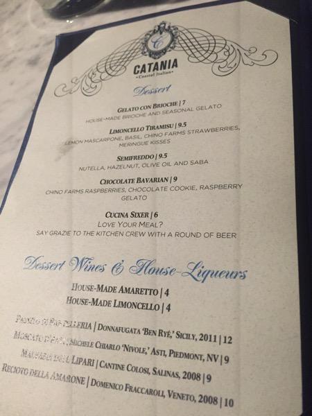 Catania menu