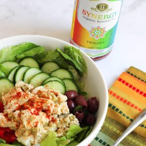 A delicious and healthy variation of chicken salad. Hummus chicken salad bowl!