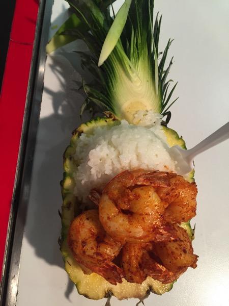 Shrimp stuffed pineapple