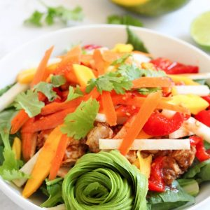 Spring roll chicken salad! I love spring rolls but don't find them to be very satisfying alone. This takes the flavors to a bold, filling, and delicious salad. A healthy protein-packed lunch option!