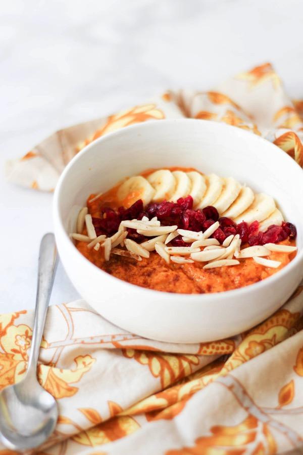 Sweet potato breakfast bowl ready to eat
