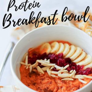 Sweet potato protein breakfast bowl! A delicious way to switch it up from the usual hot bowl of oats. fitnessista.com