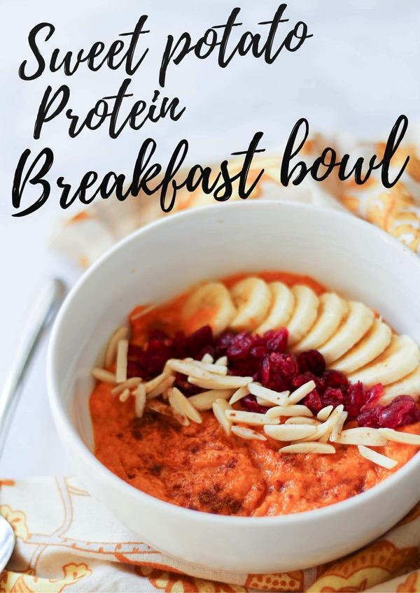 Sweet potato protein breakfast bowl