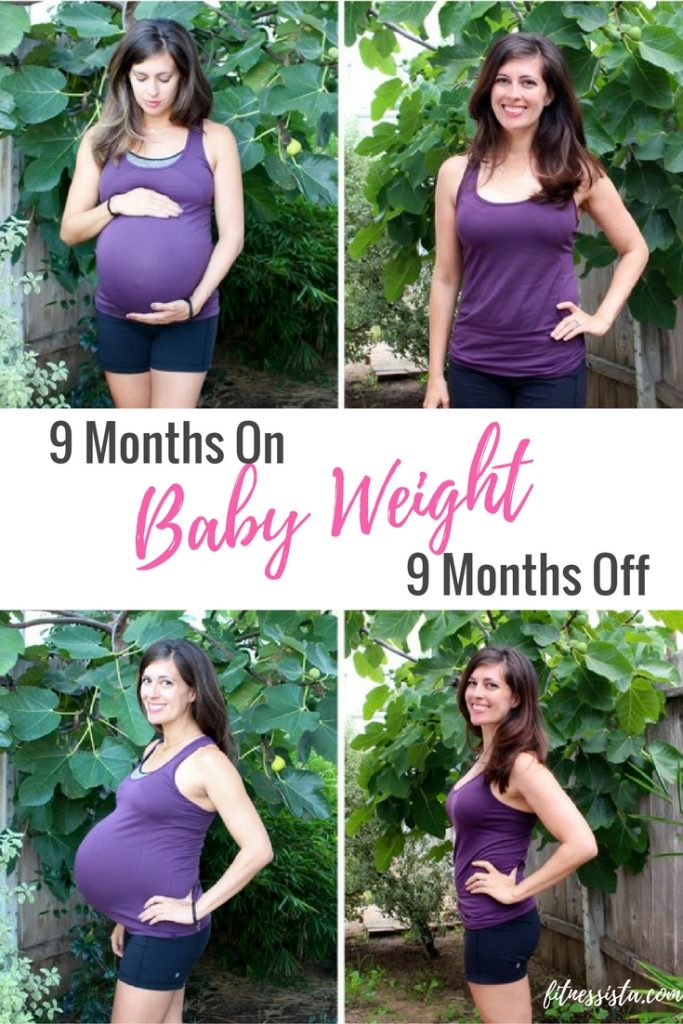 9 months on for baby weight and 9 months off, pictures from both stages