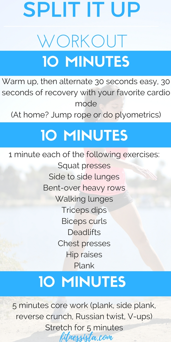 A workout that you can split up into 3 10-minute segments depending on your schedule. Get in an intense cardio, strength and core workout! fitnessista.com