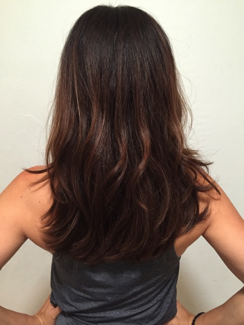 Brown hair with long layers