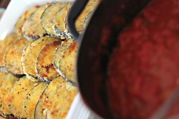Breaded egglplant slices