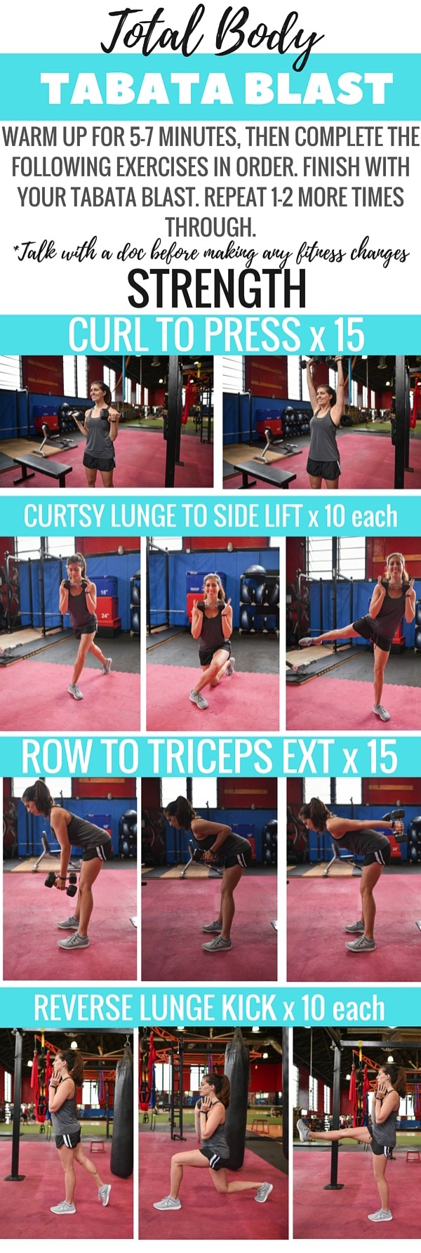 Combine compound strength exercises with calorie-torching Tabata intervals for an effective and sweaty workout! Pin this for the next time you need gym inspiration :) fitnessista.com