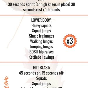 A full fall workout plan, balancing HIIT, strength, rest and flexibility that you can do AT HOME during this busy season. fitnessista.com