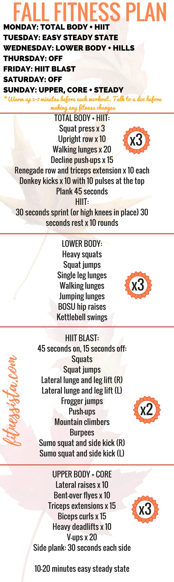 free fall fitness plan at home workout plan