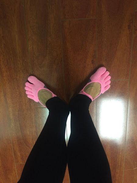 Ready to teach barre with my pink barre socks