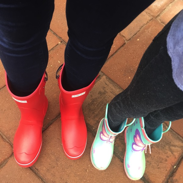 Mommy and daughter rain boots