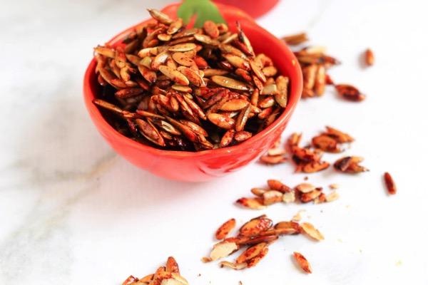 Honey sriracha pumpkin seeds