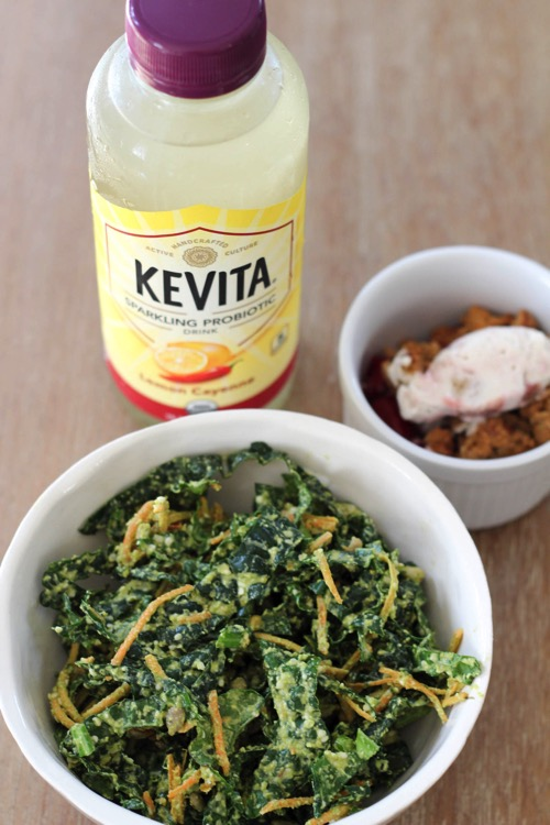 A healthy lunch with KeVita sparkling probiotic drink and kale salad