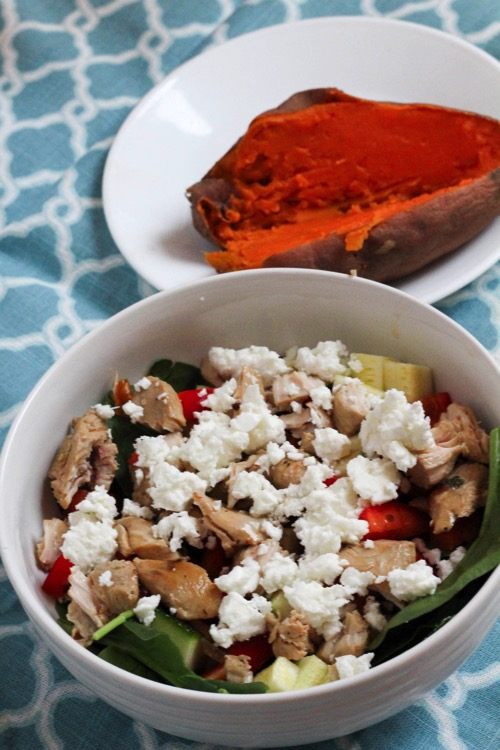 salad and sweet potato lunch