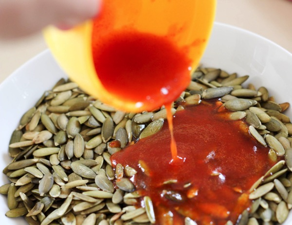 Pumpkin seeds with sriracha