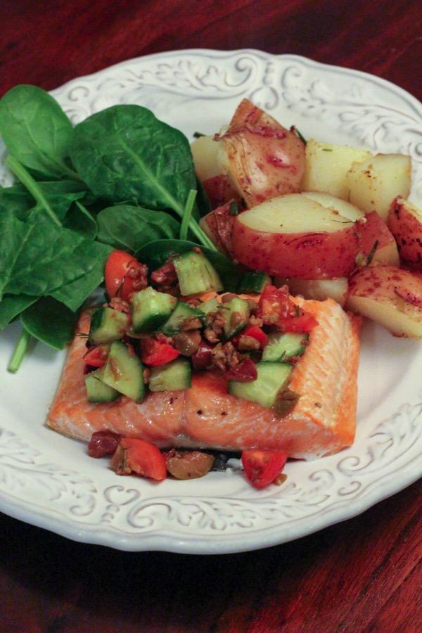 Salmon with mediterranean salsa