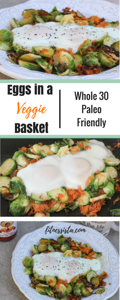 Eggs in a basket of brussels sprouts and sweet potato