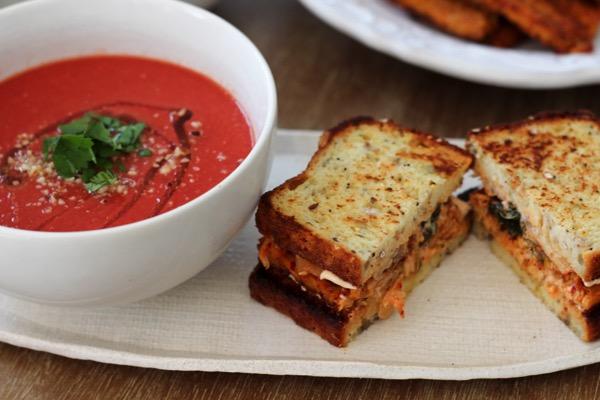 Blackened tempeh with vegan tomato soup