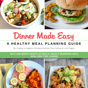 Dinner Made Easy is HERE! get your copy of this ebook with one month of meals, recipes, grocery lists and prep ahead tips. No more struggling over what to make for dinner!