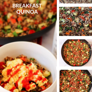 Breakfast quinoa! A fun and savory twist on the usual bowl of oats for breakfast. This is packed with veggies and protein. Make a batch for the week. fitnessista.com