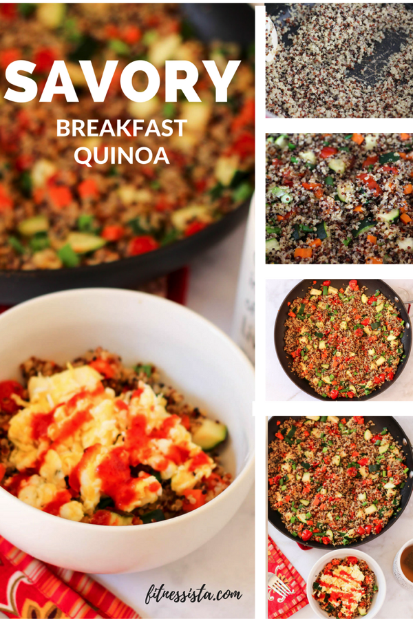 This breakfast quinoa is a savory switch-up on the sweet rotation. It's packed with veggies, filling protein, and is inherently gluten-free. Make a batch to enjoy for breakfasts for the week! fitnessista.com #quinoarecipe #breakfastquinoa #glutenfree