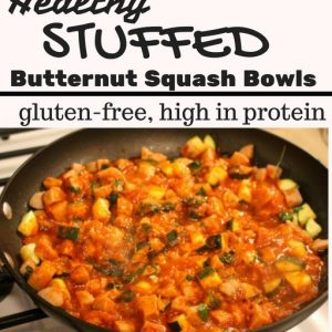 Stuffed butternut squash bowls! A high protein way to get veggies with dinner, plus tons of protein. fitnessista.com