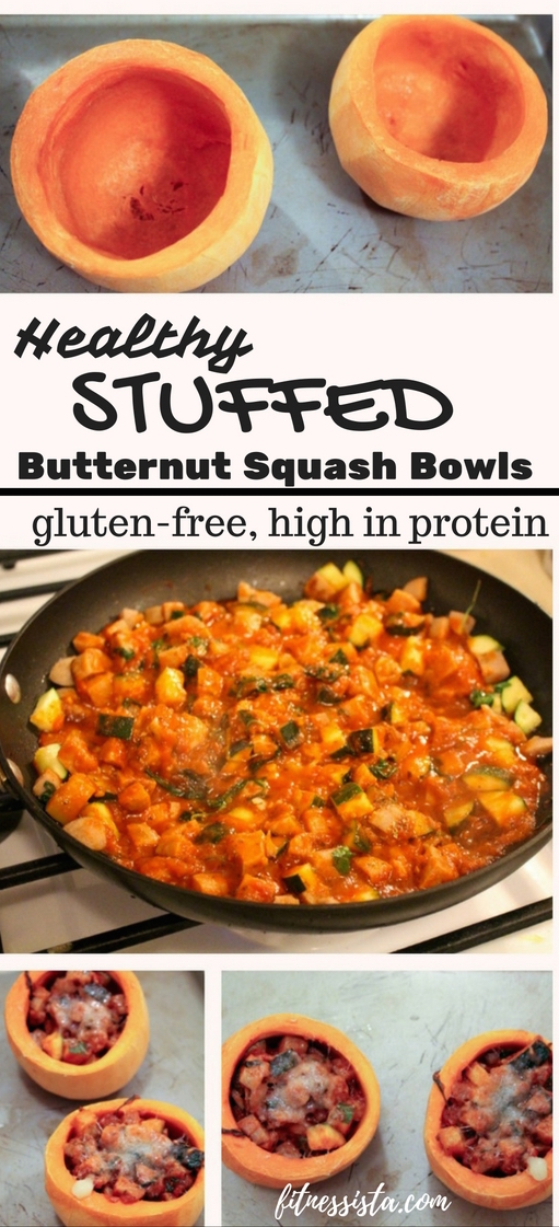 Healthy stuffed butternut squash bowls with protein