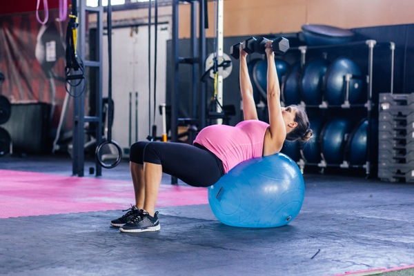 stability ball chest press while pregnant