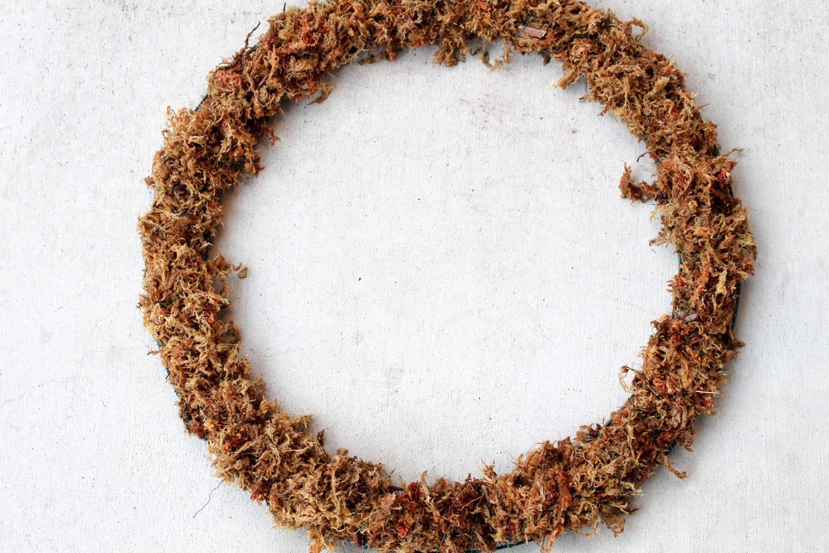 moss on wreath base