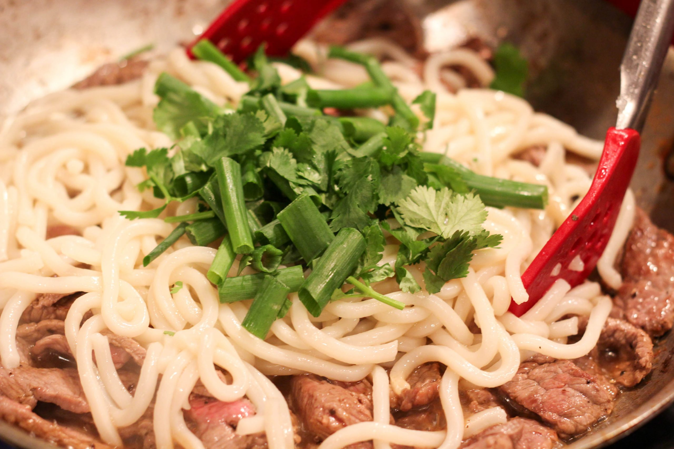 udon noodles with scallions and cilantro