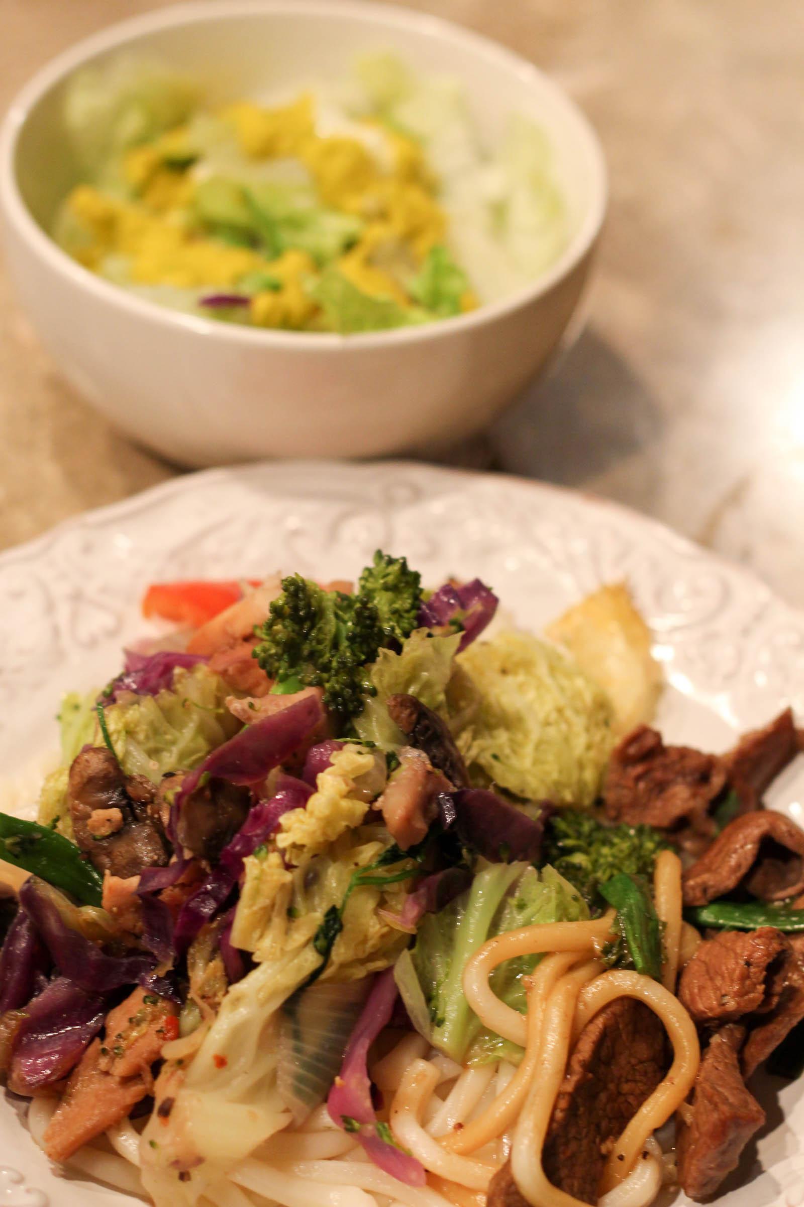 stir fry dinner and salad