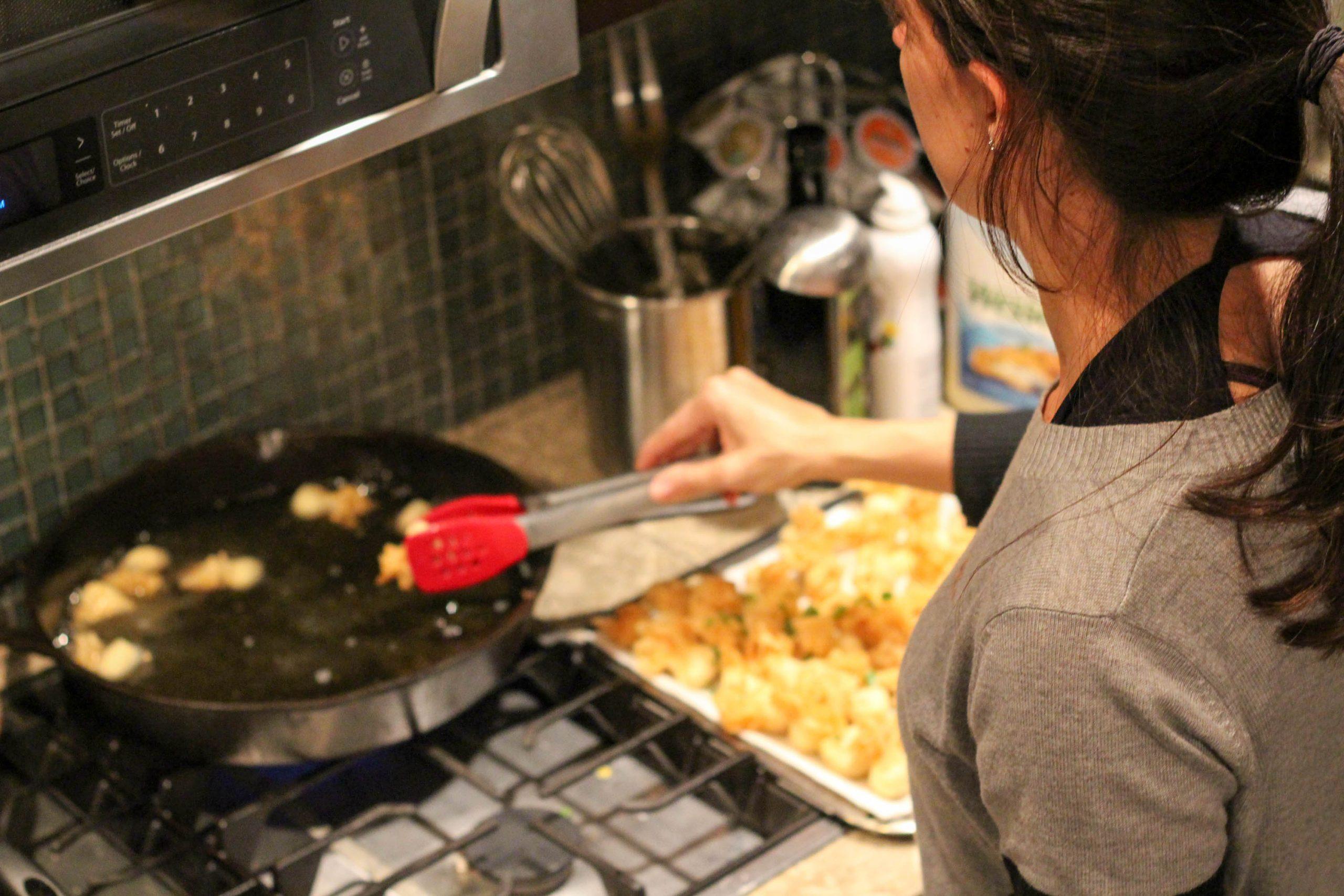 Me frying crab puffs