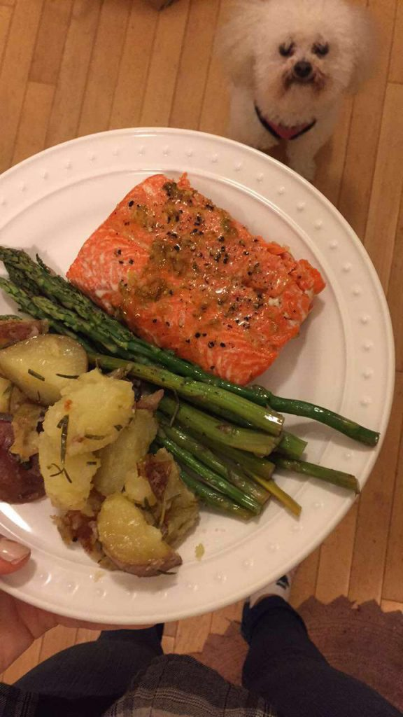 salmon, asparagus, potatoes