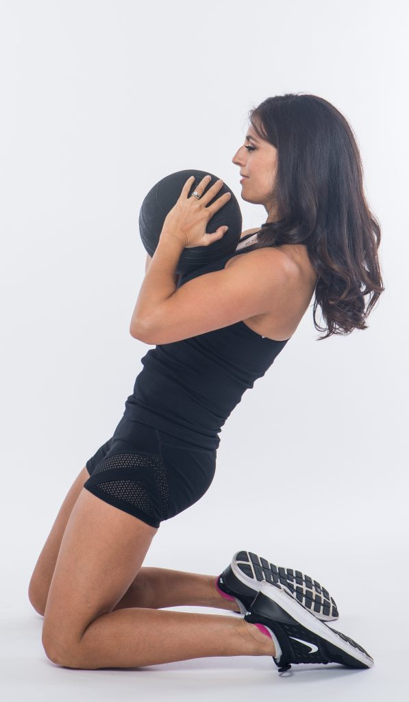 working it with a medicine ball