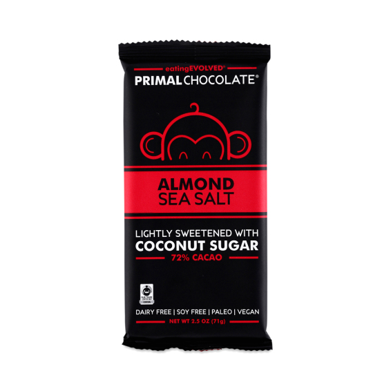 primal chocolate almond seasalt coconut sugar-sweetened chocolate bar